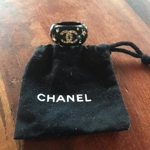 CHANEL Resin and Crystal Logo Ring - Size 6